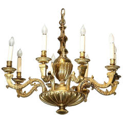 8 Light  Finely Detailed Gilt Bronze Regency Chandelier