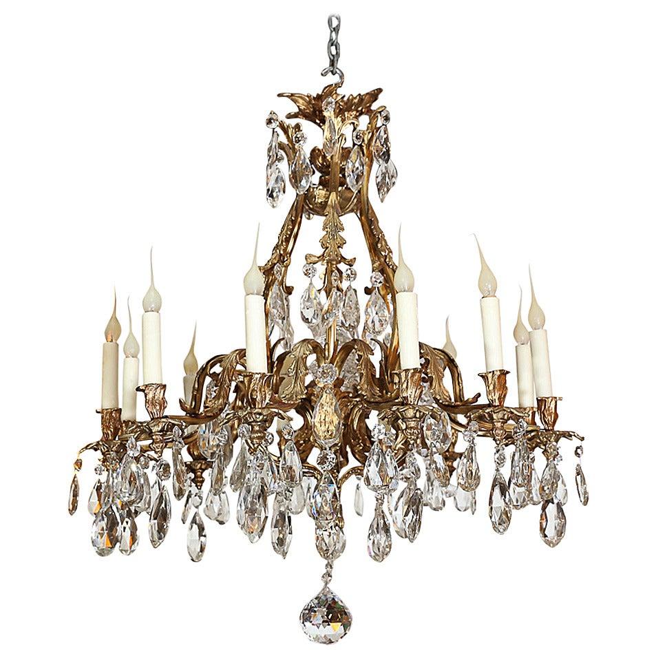 Bronze Dor 233 And Crystal Twelve Light Chandelier Attributed