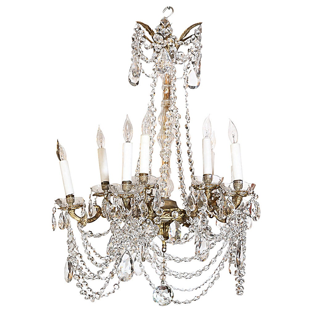 Small Scale Crystal Ten Light Chandelier At 1stdibs