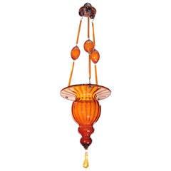 Murano Amber Glass Small Chandelier