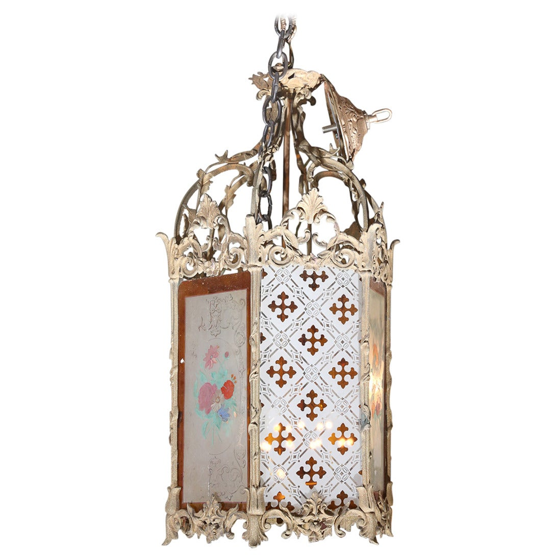 hand painted french lantern for sale at 1stdibs. Black Bedroom Furniture Sets. Home Design Ideas
