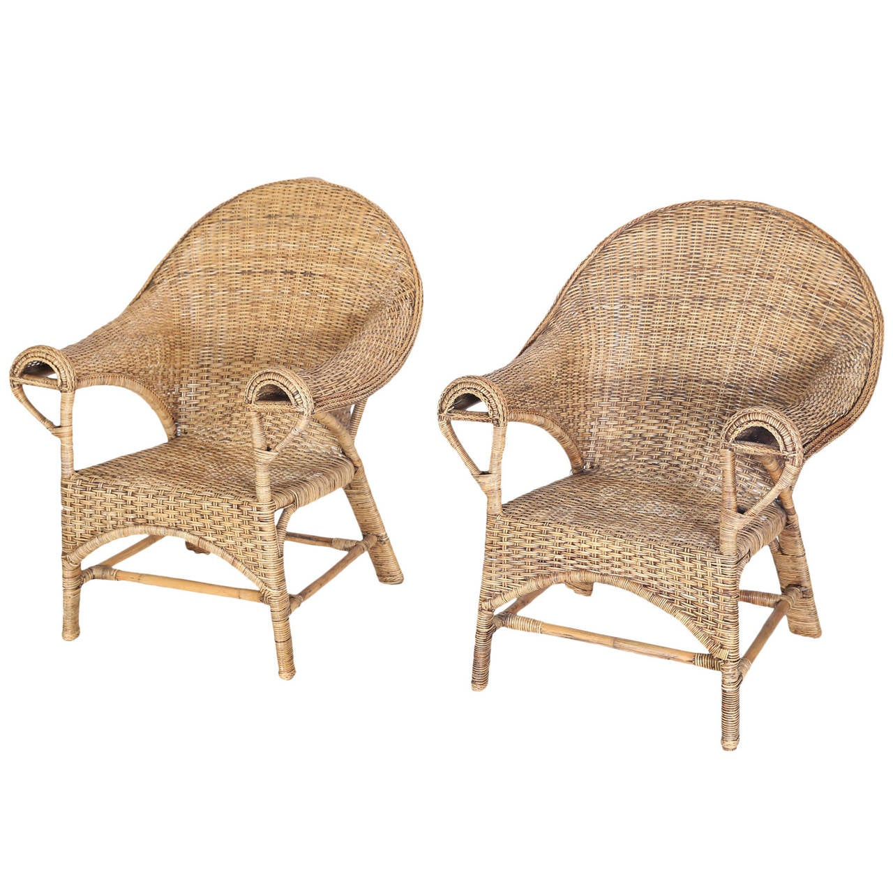 Used Cane Sofa For Sale In Bangalore: Pair Of Vintage Ginsburg Of San Francisco Wicker Chairs