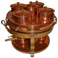 Copper Warming Tray with Individual Containers, and Brass Detail