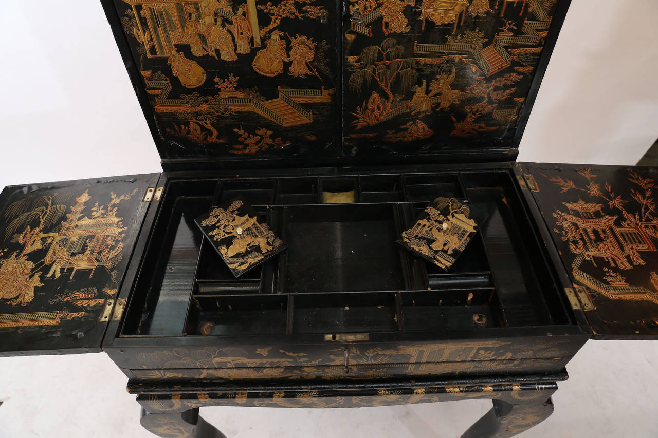 Black lacquer chinoiserie desk at 1stdibs for Chinese furniture houston tx
