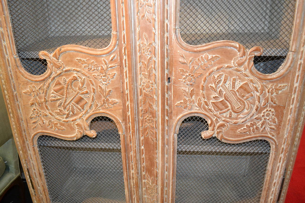 Pickled Carved Oak Normandy Armoire With Wire Scrim Doors