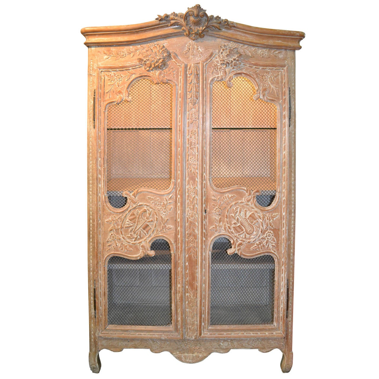 Pickled Carved Oak Normandy Armoire with Wire Scrim Doors for Display