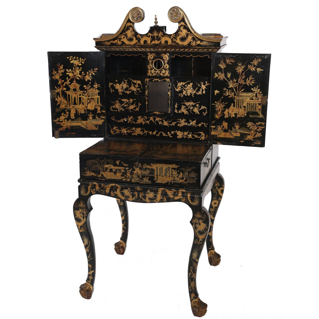 Black Lacquer Chinoiserie Desk At 1stdibs