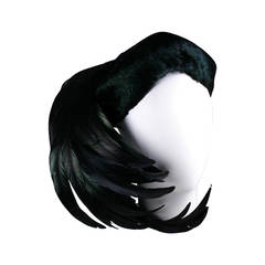Lilly Dache Black Coq Plume and Feather Cocktail Hat