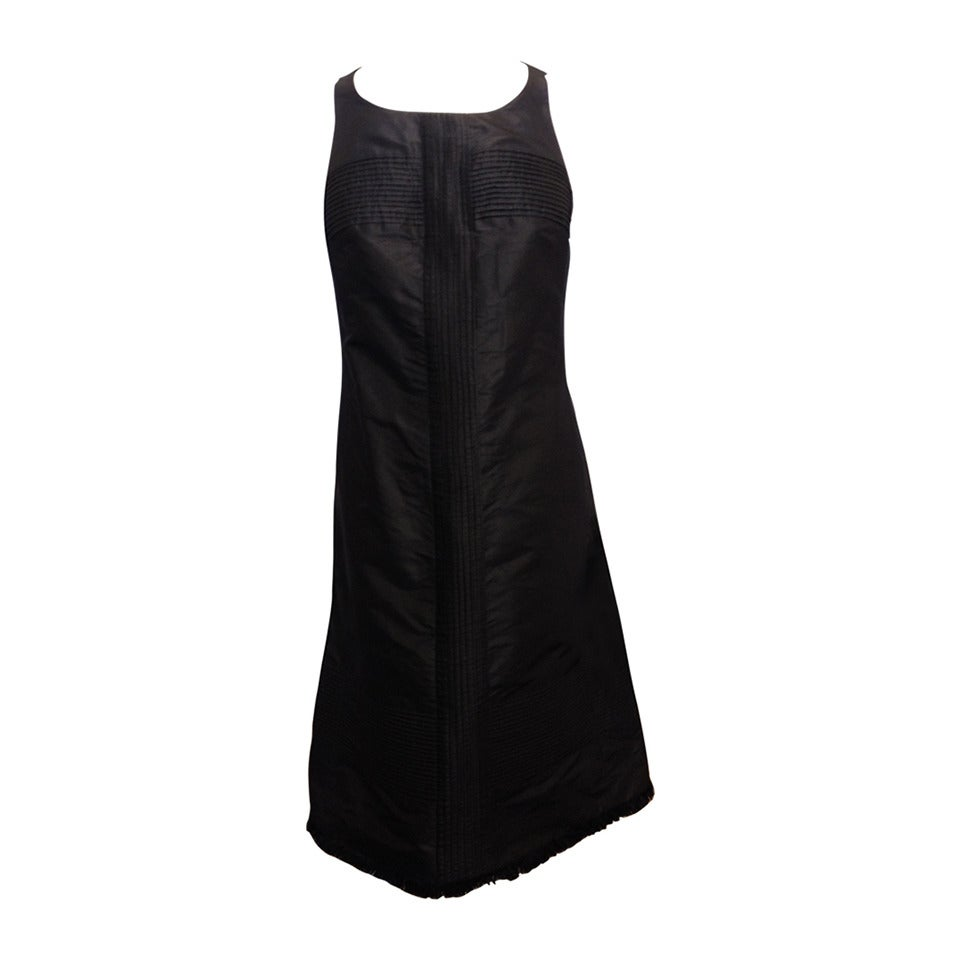 Chado Black Silk Shift Dress with Pintuck Pleating