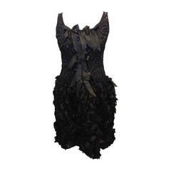 Oscar de la Renta Black Embellished Cocktail Dress with Bows