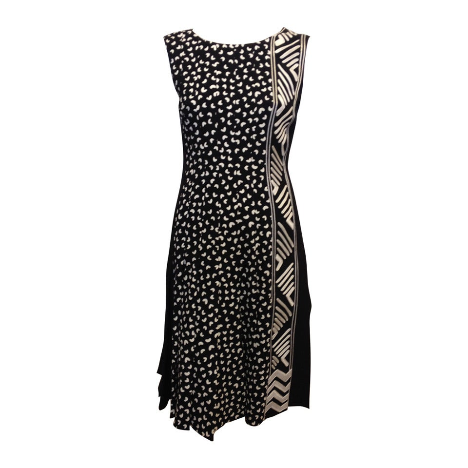 Oscar de la Renta Black and White Patterned Dress 1