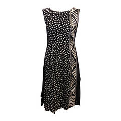 Oscar de la Renta Black and White Patterned Dress