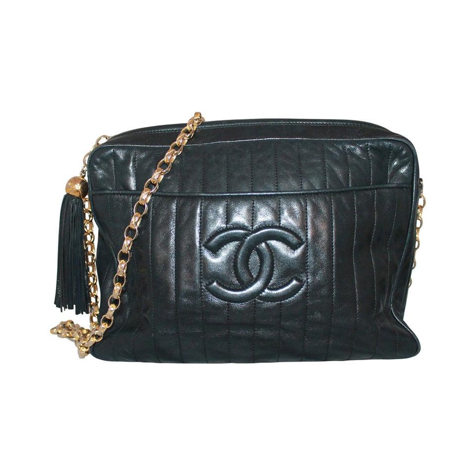 Chanel Vintage Black Lambskin Handbag with Tassle - circa 1990s 1