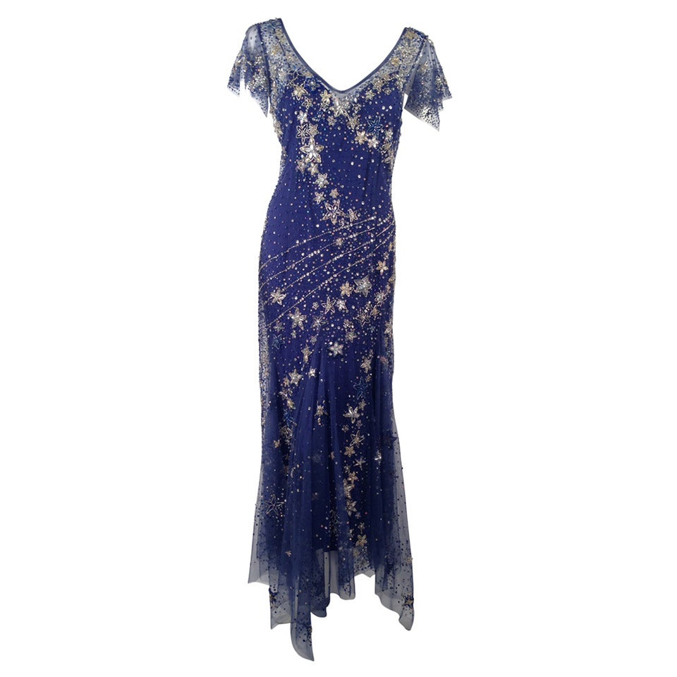 Bellville Sassoon Embellished Midnight Blue Tulle & Silk Star Studded Gown 1