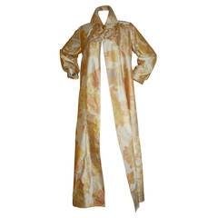 Dramatic Vintage Designer Hand Painted Silk Opera Coat Jacket