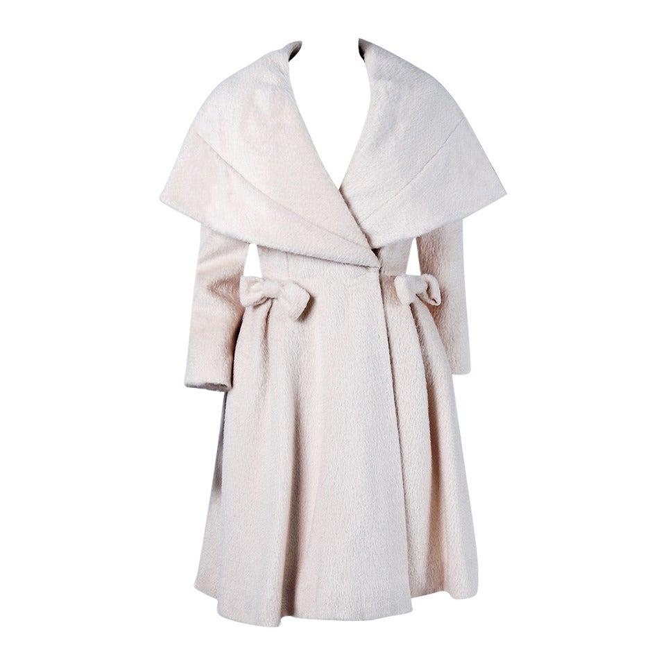 1950's Lilli-Ann Elegant Ivory Creme Wool Shawl-Collar Swing Princess Coat 1