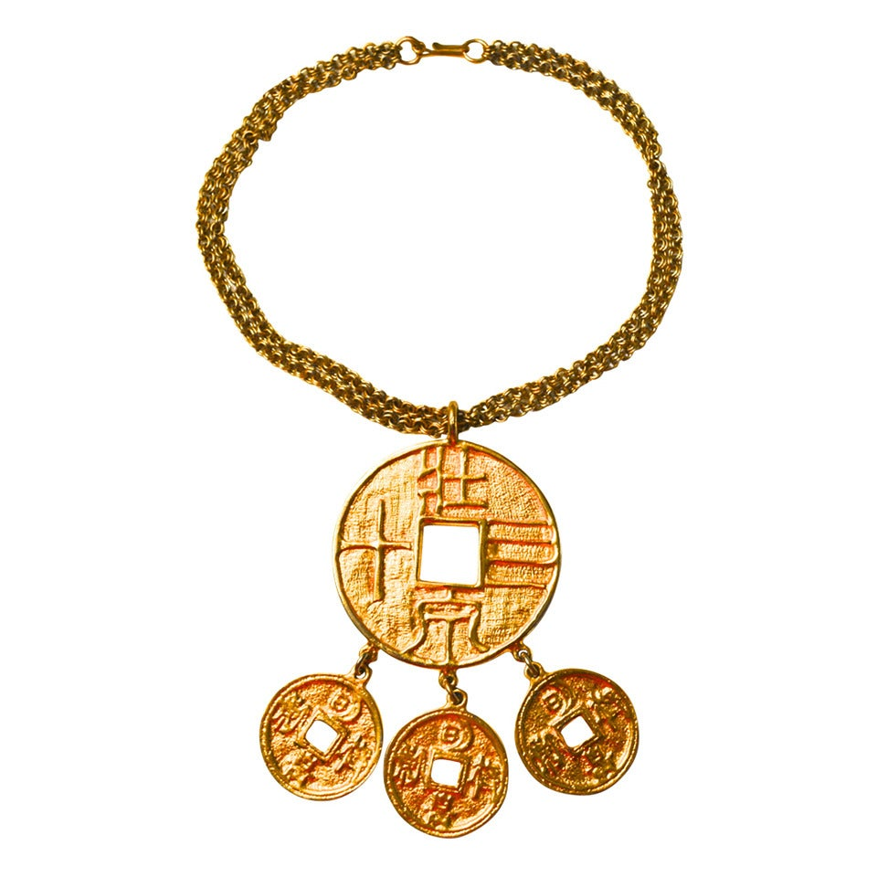 kenneth coin necklace kjl at 1stdibs