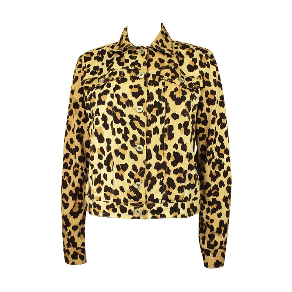 Moschino 1990s Cheetah Print Cropped Western Style Jacket