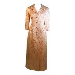 I Magnin Pink and Gold Jacquard Full Length Coat