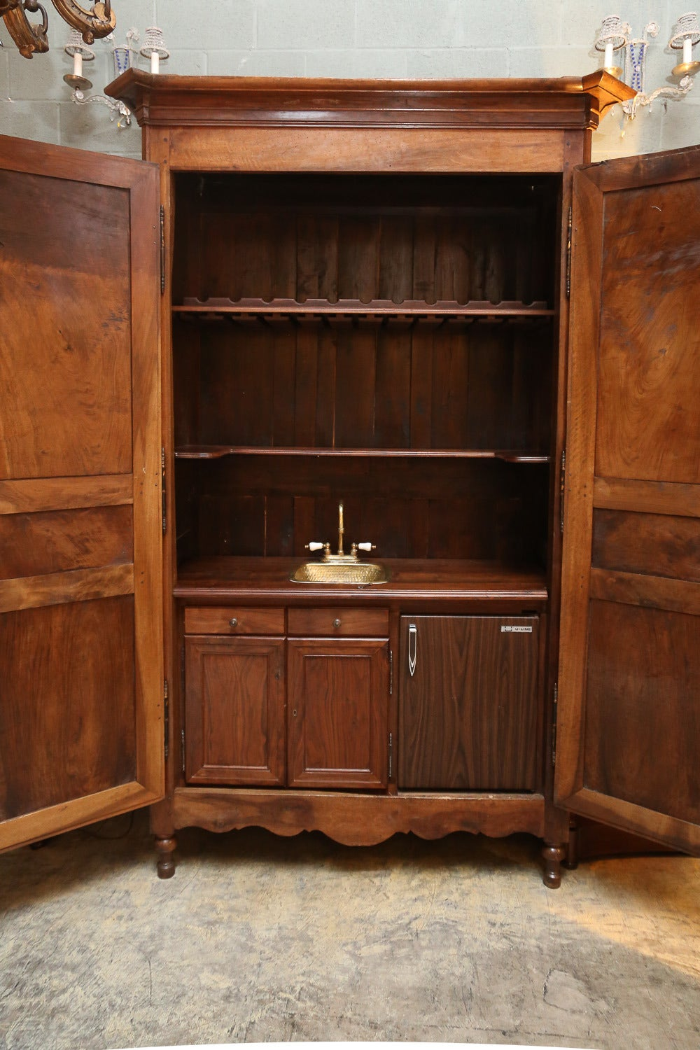 19th Century French Walnut Armoire With Wet Bar At 1stdibs