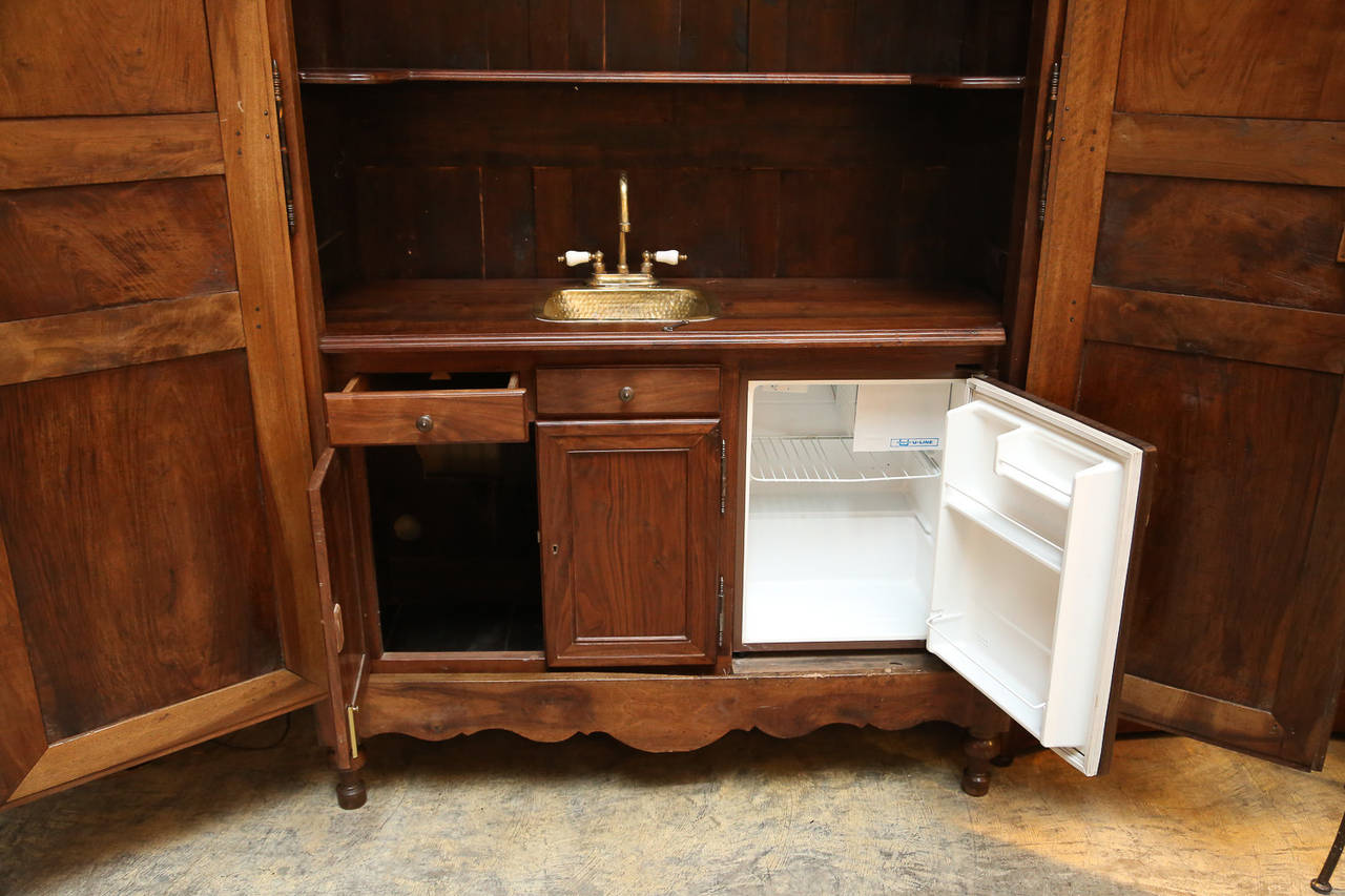 drawer kitchen cabinets 19th century walnut armoire with bar for 15054