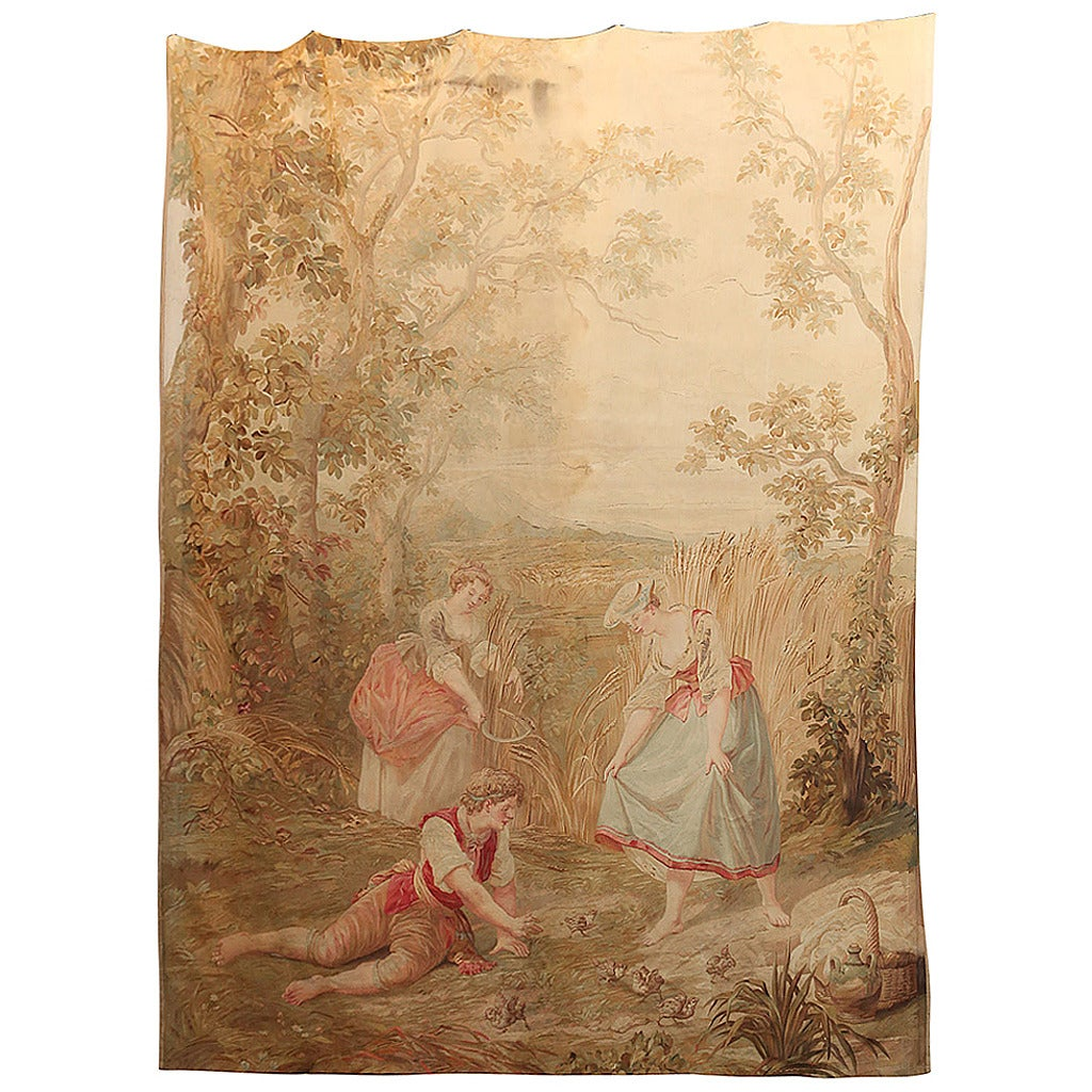 19th Century French Pastoral Scene Aubusson Tapestry