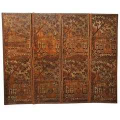 18th Century Large Embossed Venetian Leather Screen