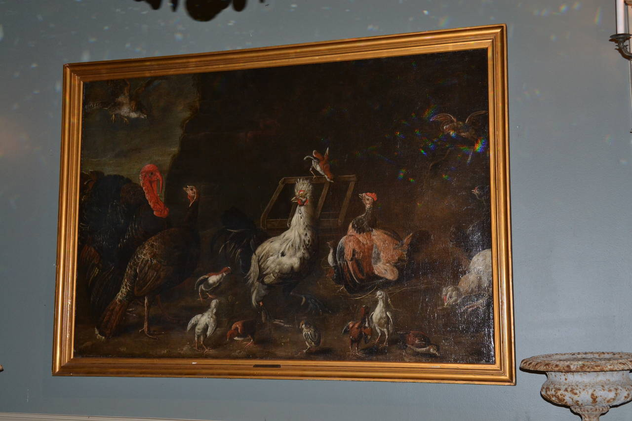 Oil painting done in the school of Melchior d'Hondecoeter (1636-1695.)  Painting features a Turkey and other Fowl in flight, as well as on ground, pecking for food.  The background has a crumbing wall and crate in disrepair.  Was on loan to