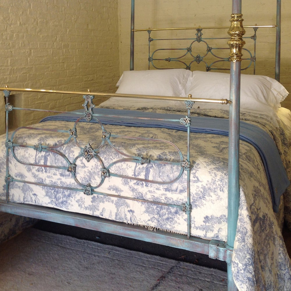 Tapered post iron four poster in blue and brass bed at 1stdibs - Mattress made of balls ...