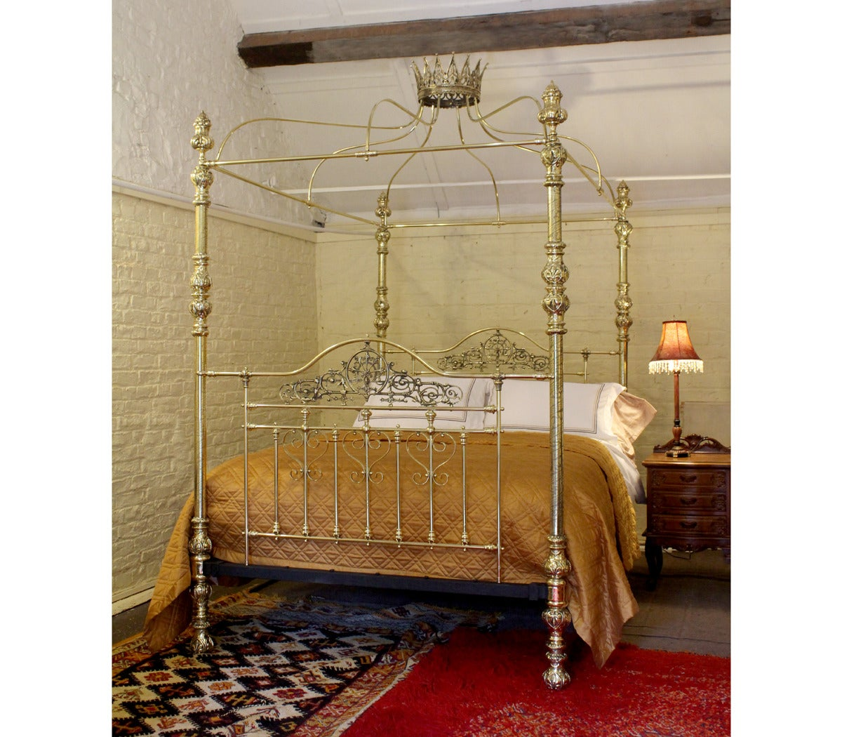 All Brass Crown and Canopy Four-Poster Bed - MKB8 2 - All Brass Crown And Canopy Four-Poster Bed - MKB8 At 1stdibs