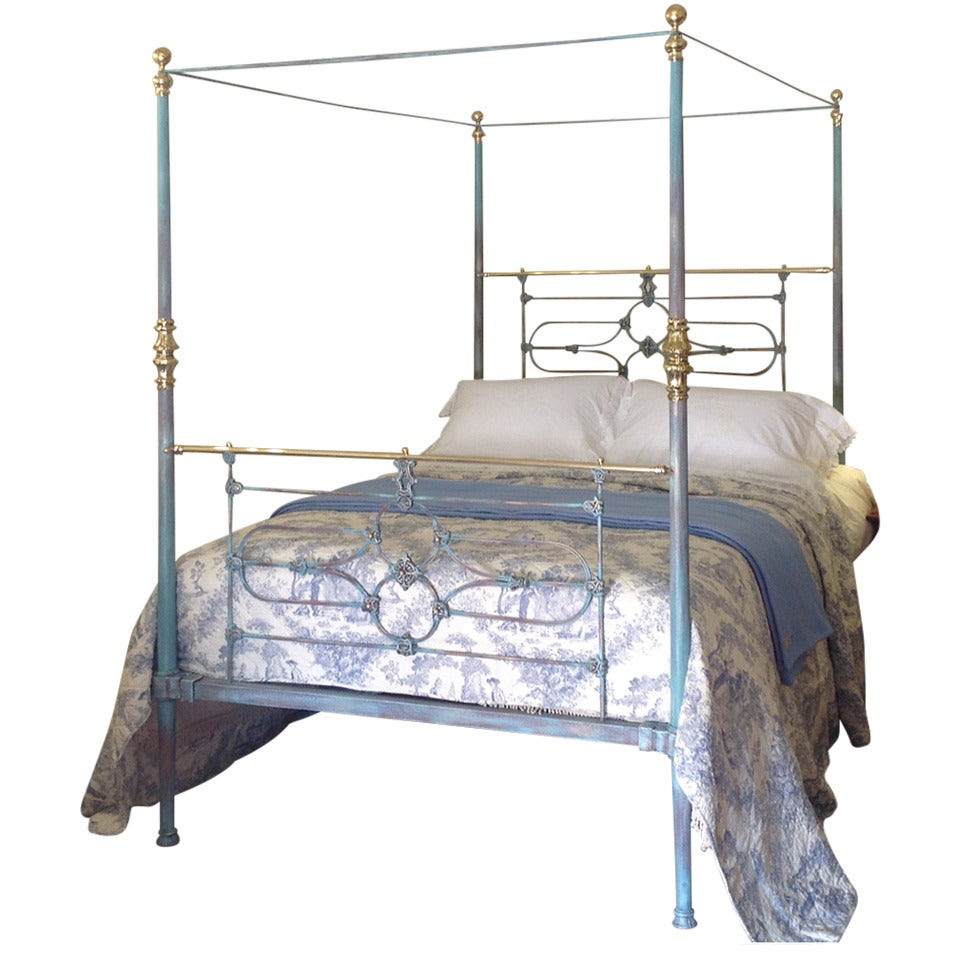 Tapered Post Iron Four Poster In Blue And Brass Bed At 1stdibs