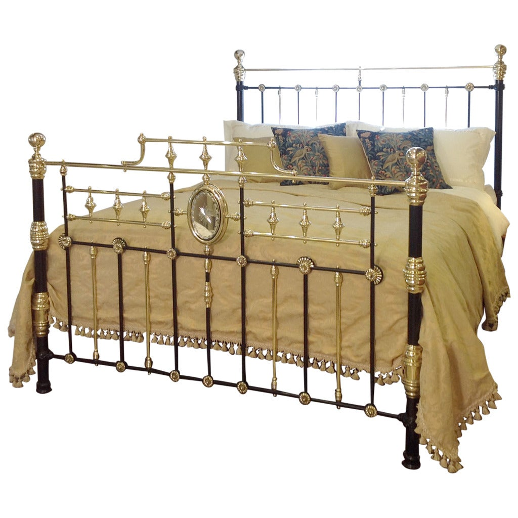 Decorative brass and iron wide bedstead at 1stdibs for Beds 185cm long
