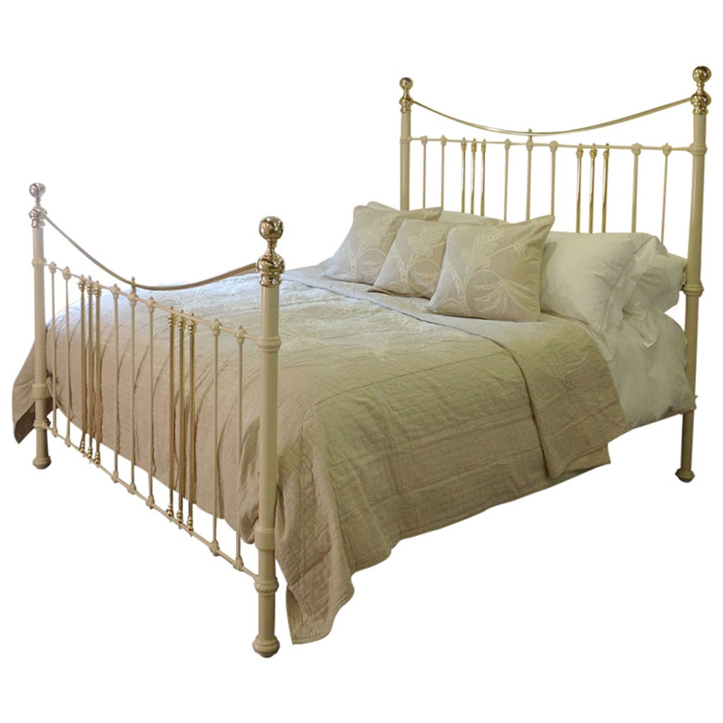 american queen size cream brass and iron bedstead at 1stdibs