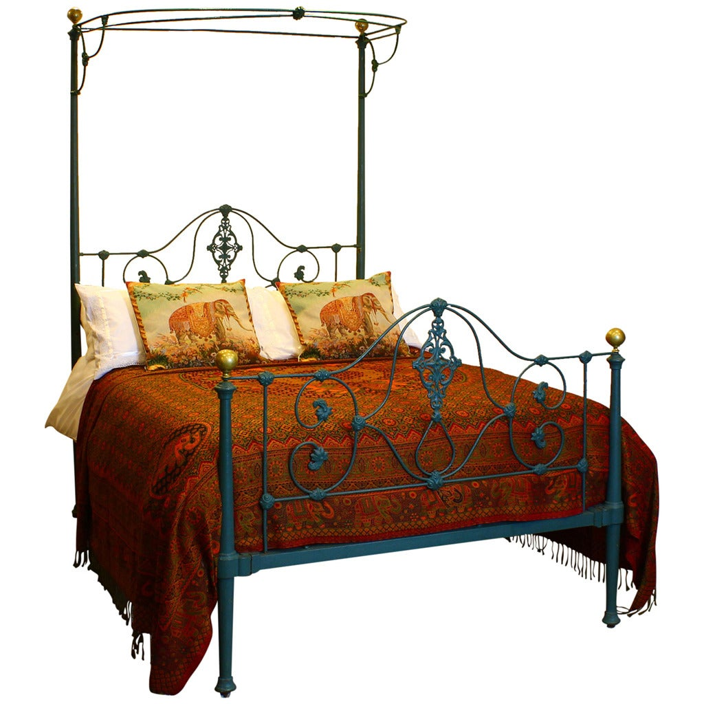 mid victorian iron half tester bed at 1stdibs. Black Bedroom Furniture Sets. Home Design Ideas