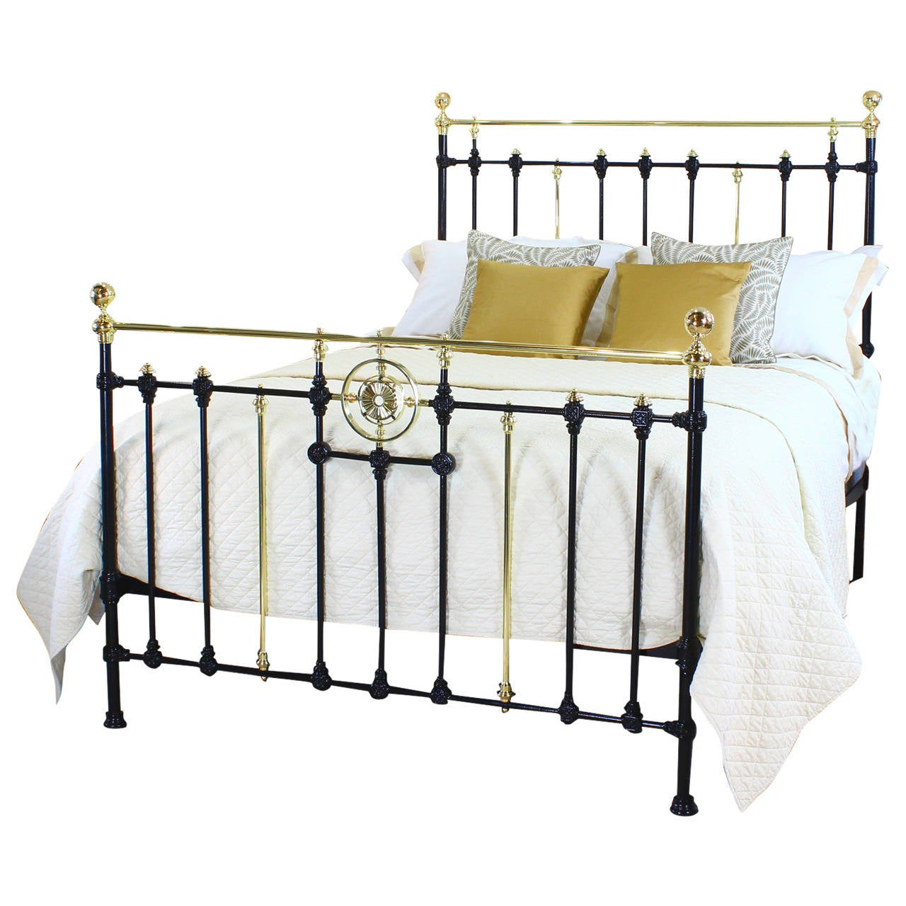 Victorian brass and cast iron kingsize bed at 1stdibs for Wrought iron four poster bed frames