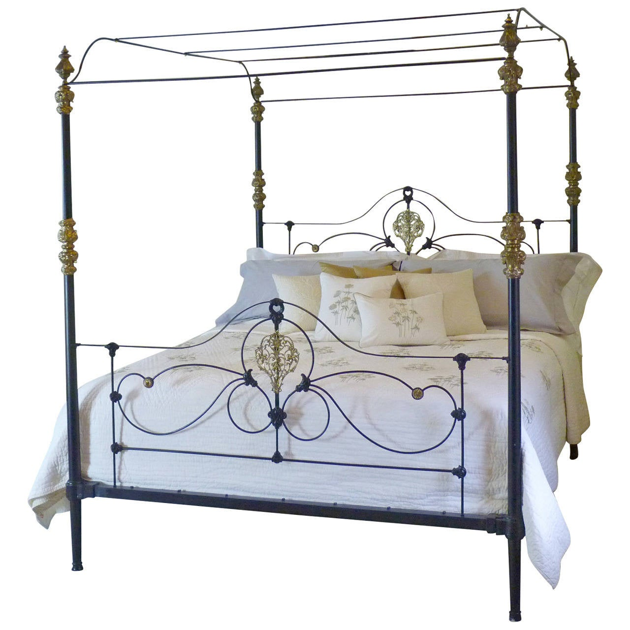 Rare Cast Iron And Brass Four Poster Bed At 1stdibs