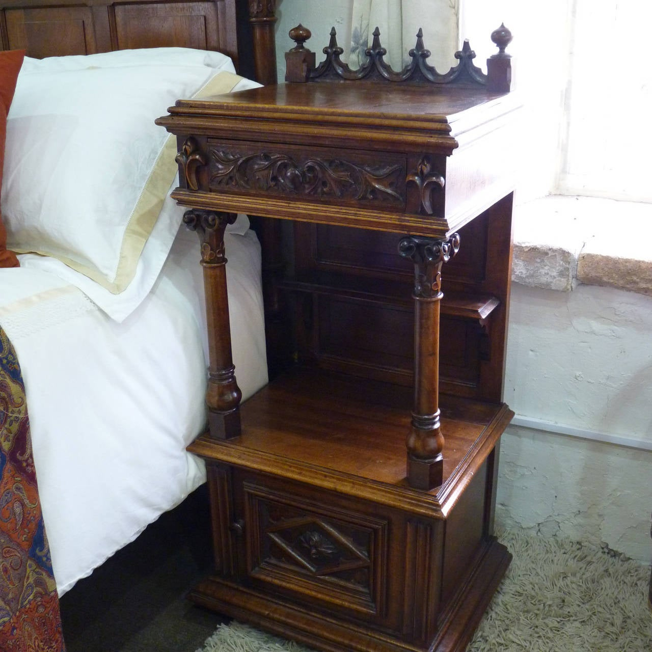 Rare Gothic Style Bed in Walnut 7
