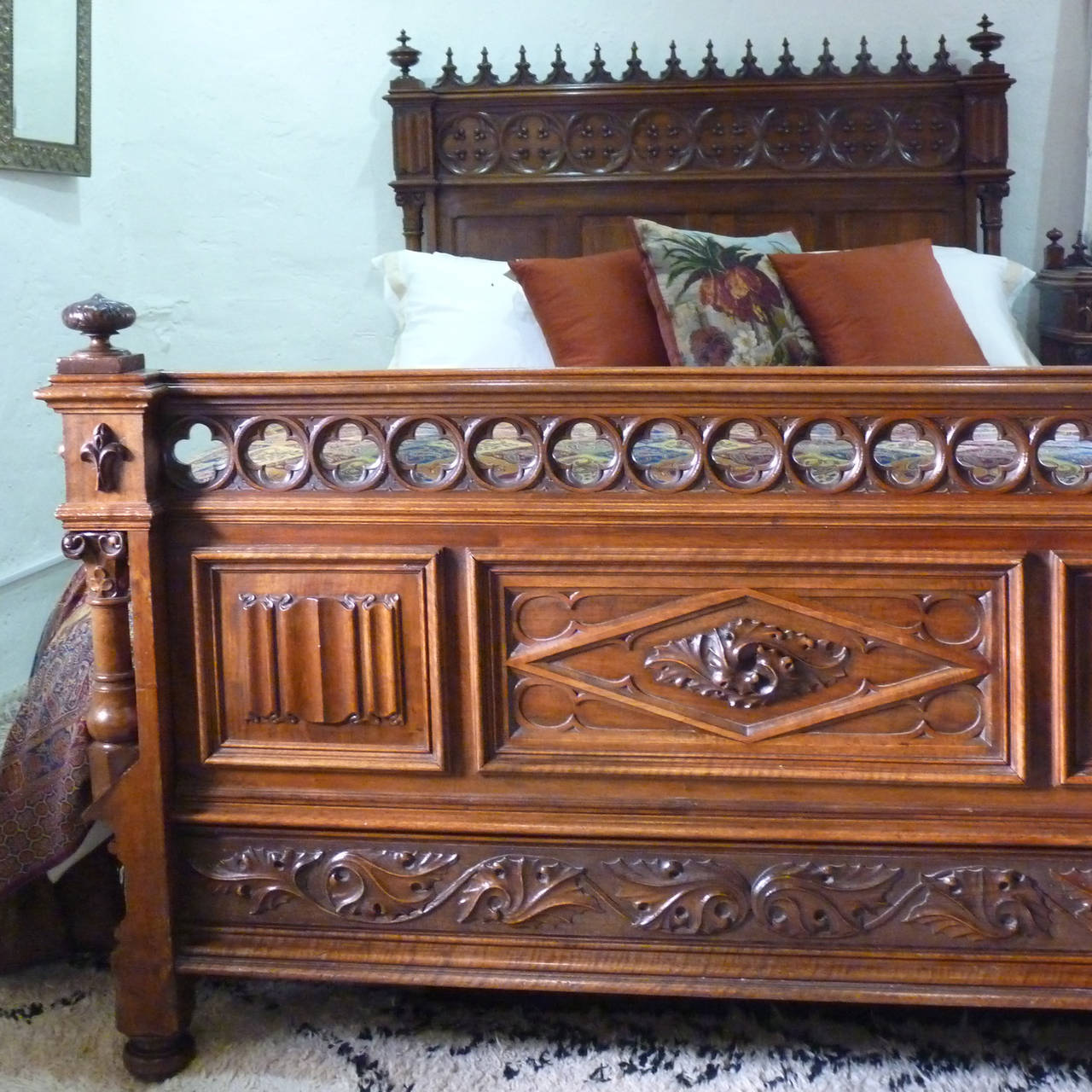 Rare Gothic Style Bed in Walnut 2