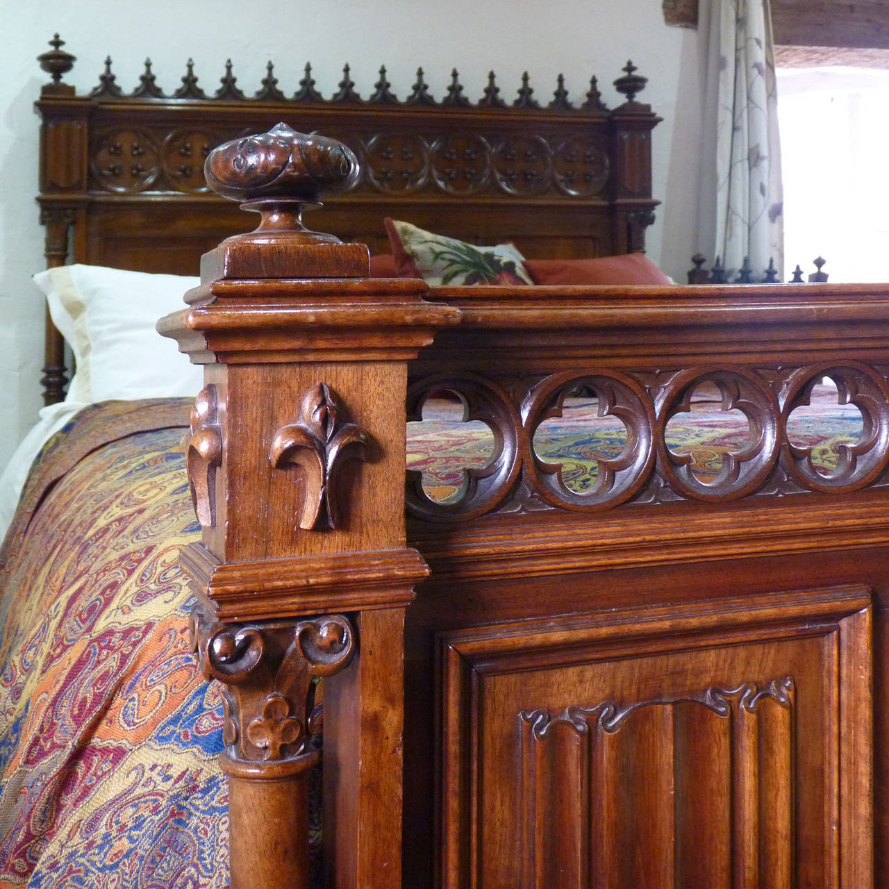 Rare Gothic Style Bed in Walnut 5