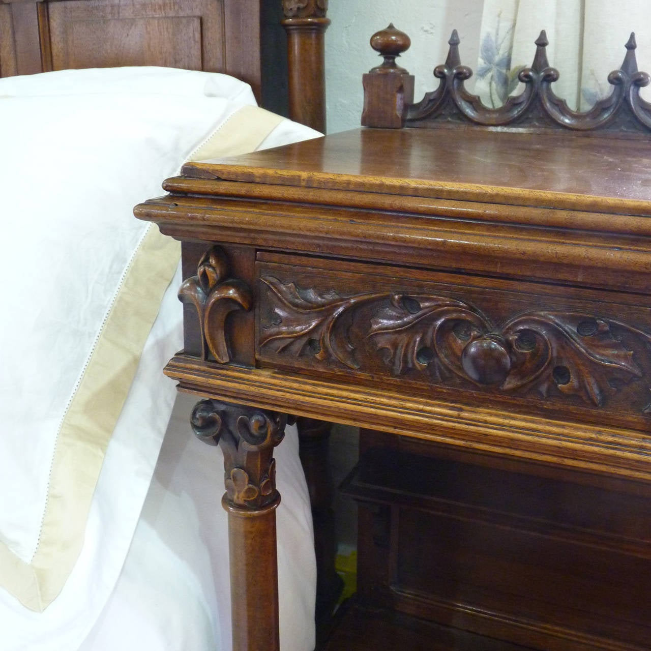 Rare Gothic Style Bed in Walnut 10