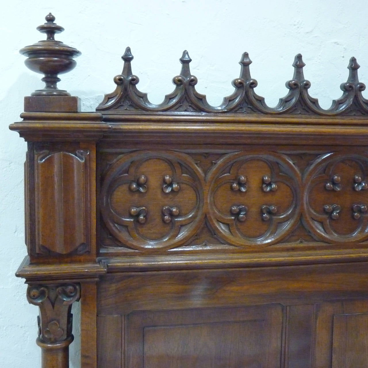 Rare Gothic Style Bed in Walnut 4