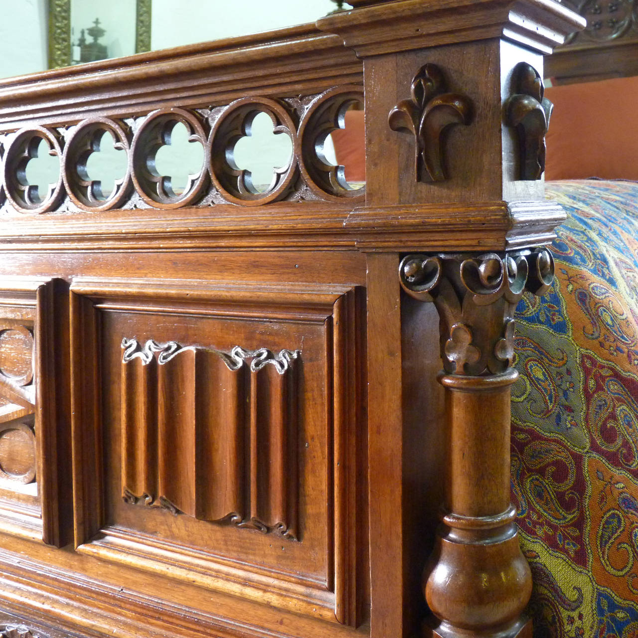 Rare Gothic Style Bed in Walnut 3