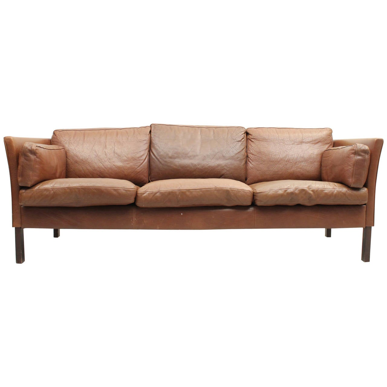 Bon Danish Mid Century Modern Leather Sofa For Sale