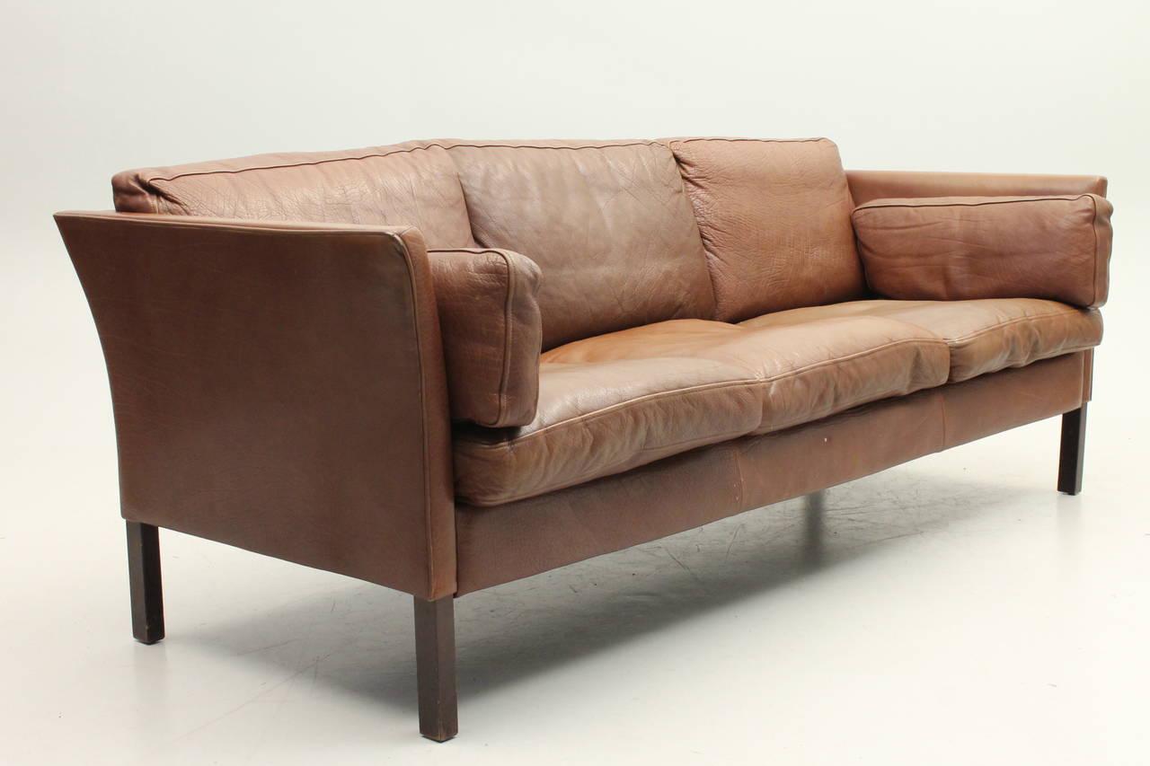 danish mid century modern leather sofa at 1stdibs