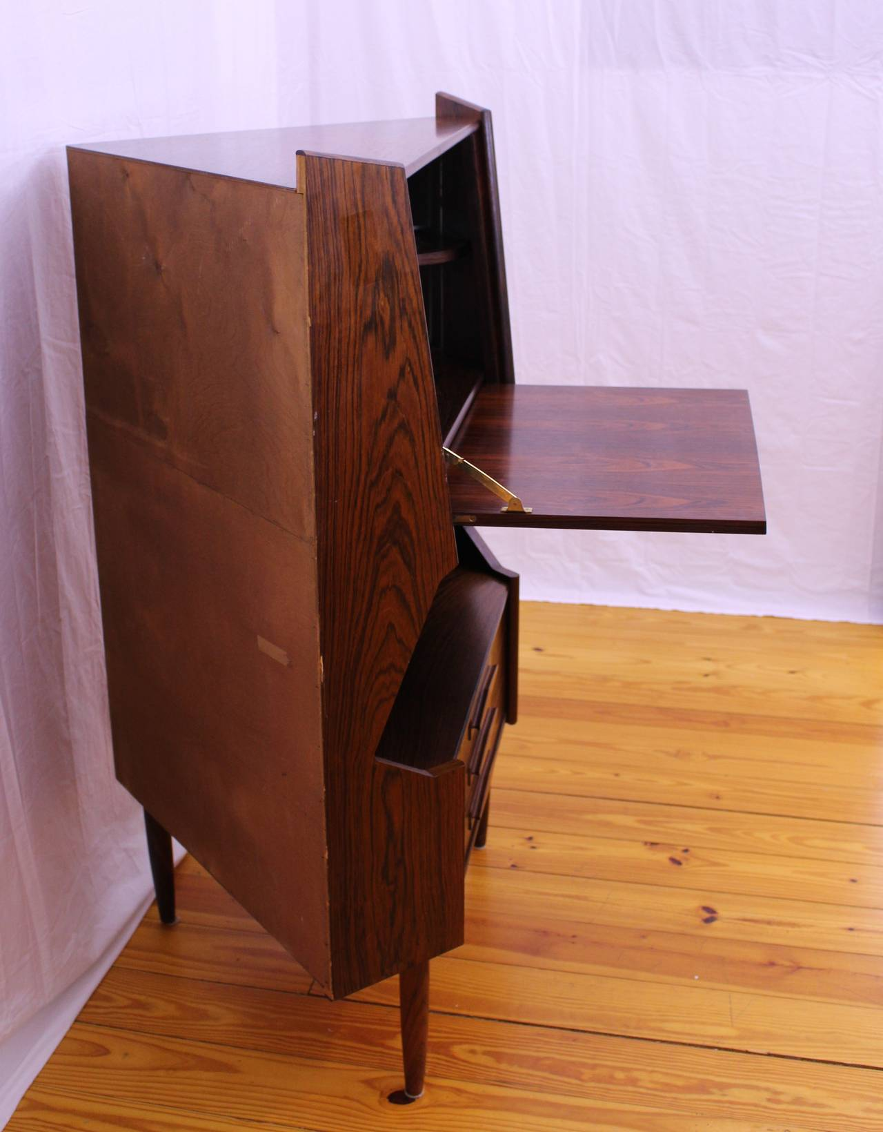 Perfect Mid Century Modern Rosewood Corner Cabinet By Johannes Sorth 3