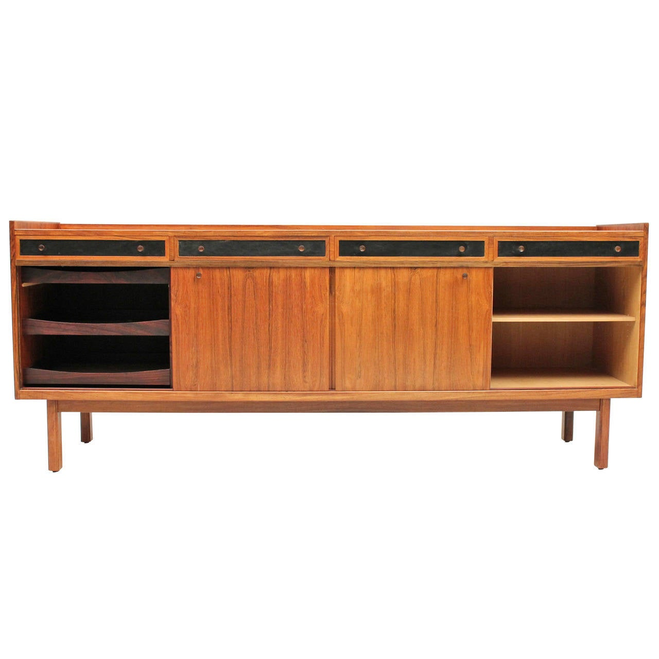 Danish Mid Century Modern Rosewood Credenza With Leather