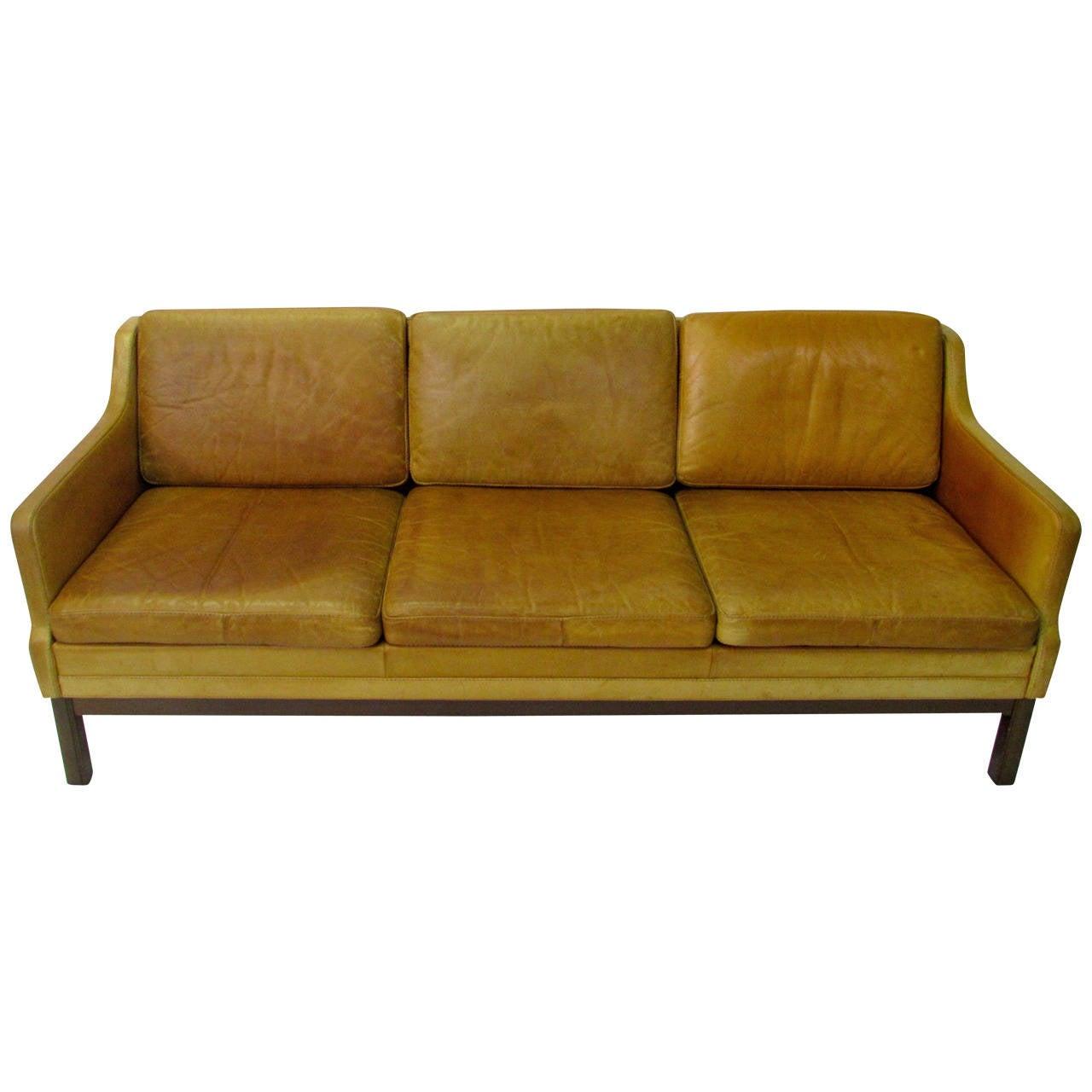 Mid Century Modern Kurt Rasmussen Leather Sofa At 1stdibs