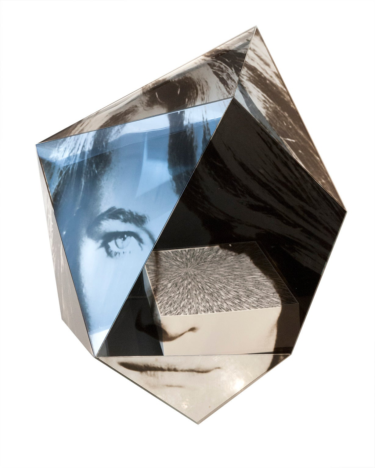 Custom faceted wall mirror with digitally printed image on laminated mirror. Limited edition of 10  Measure: 55
