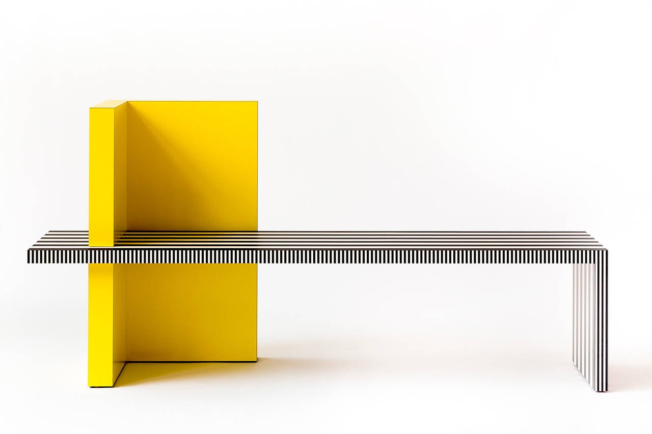 Memphis Inspired Bench, Neo Laminati Collection In Excellent Condition For Sale In New York, NY
