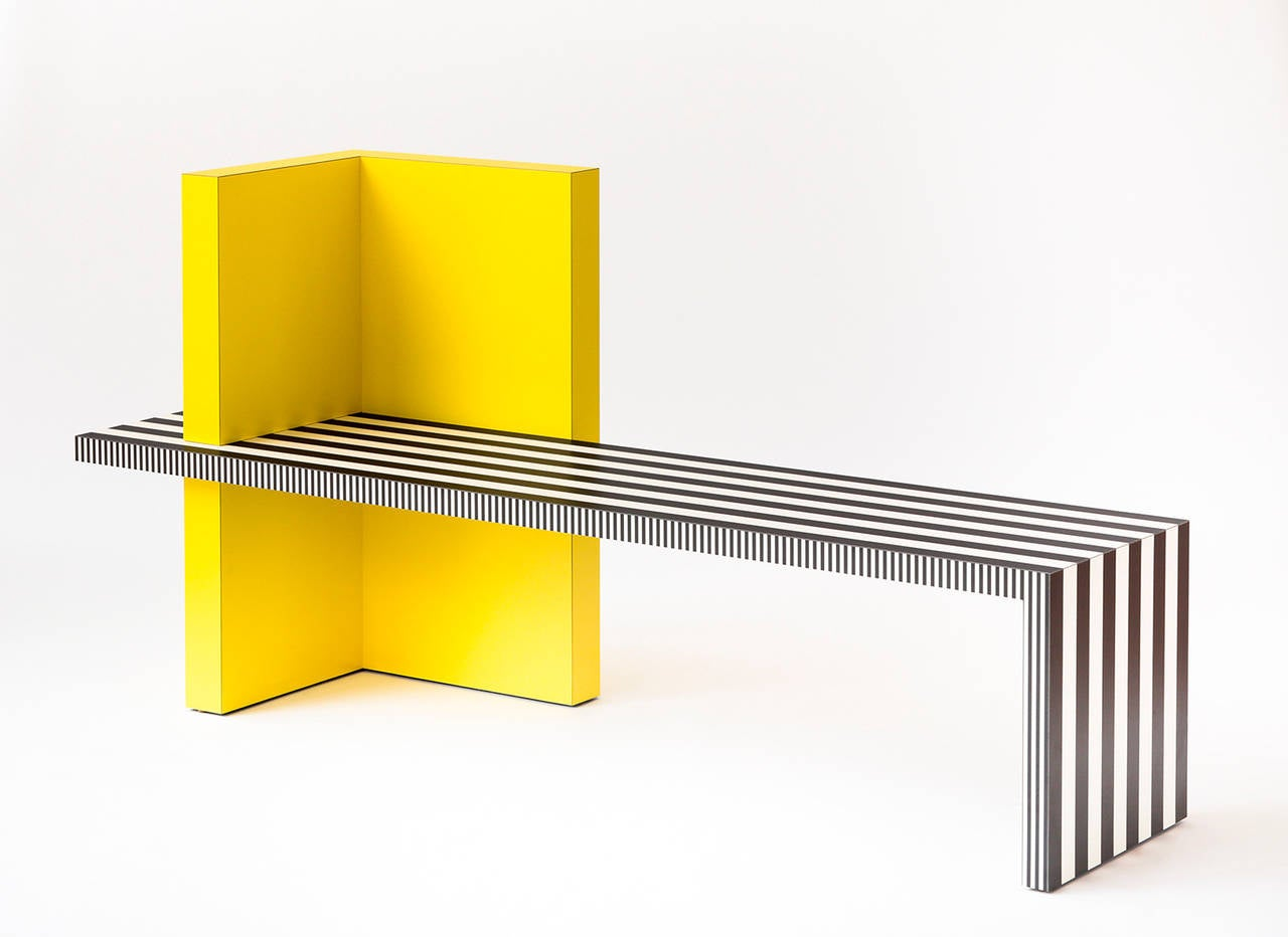 Contemporary Memphis Inspired Bench, Neo Laminati Collection For Sale